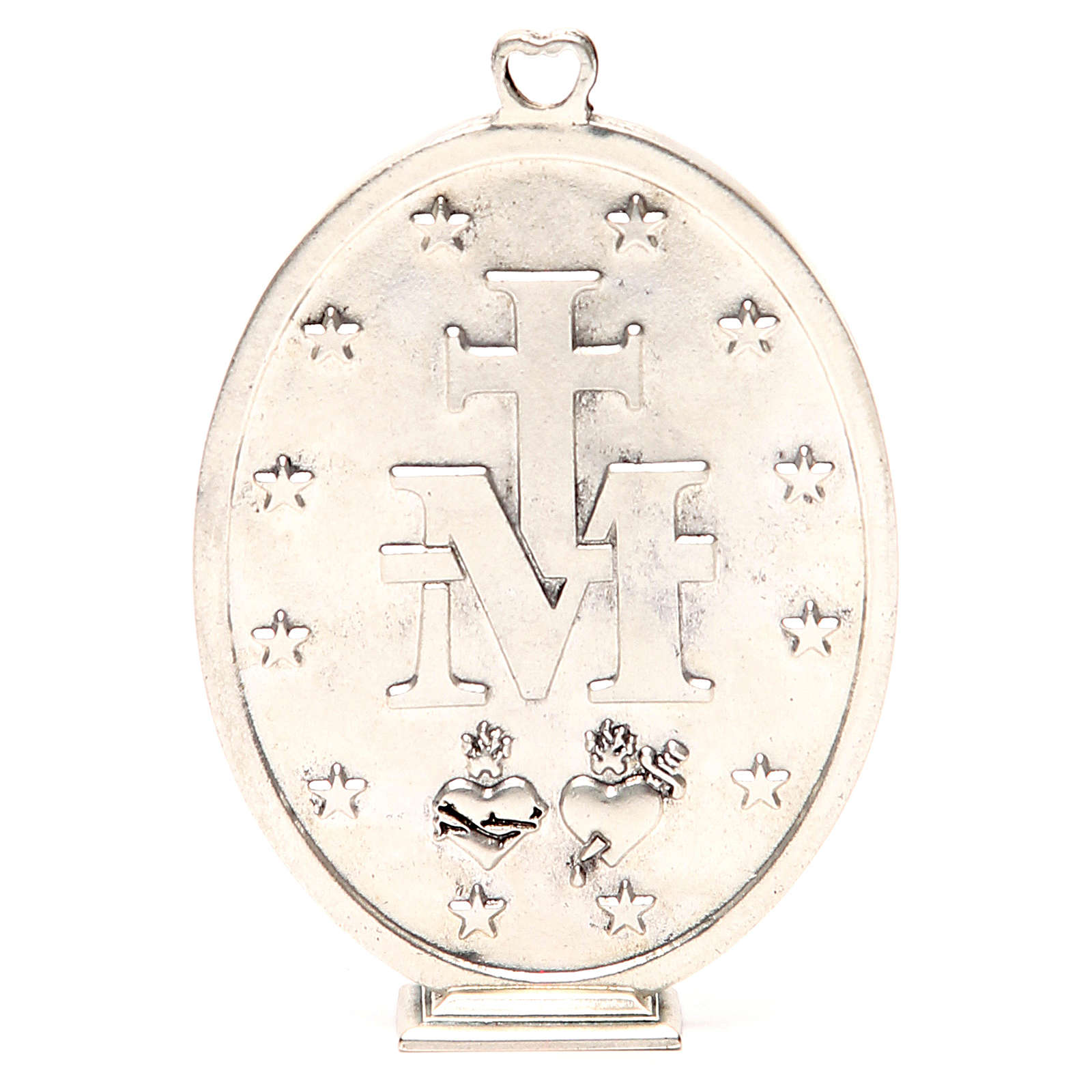 Miraculous Medal in galvanised zamak, antique silver 12.5cm 4