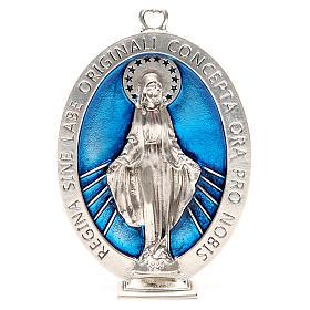 Medallón Virgen Milagrosa 12,5 cm galvánica plata antigua s1