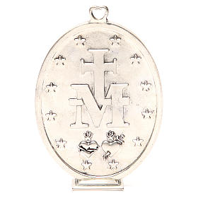 Medallón Virgen Milagrosa 12,5 cm galvánica plata antigua s3