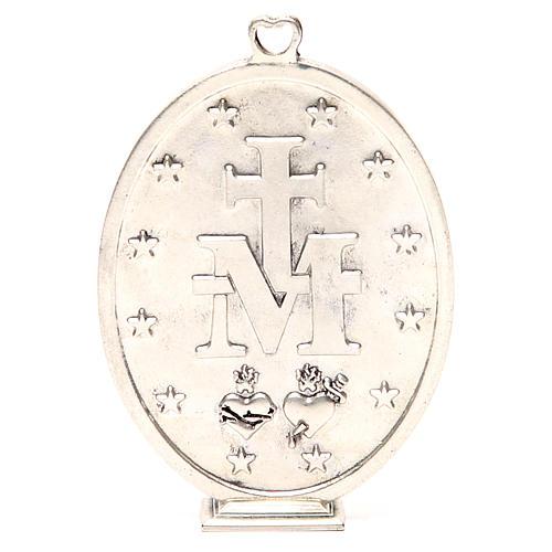 Medallón Virgen Milagrosa 12,5 cm galvánica plata antigua 3