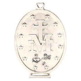 Médaille Vierge Miraculeuse galvanisée argent vieilli 12,5 cm s3