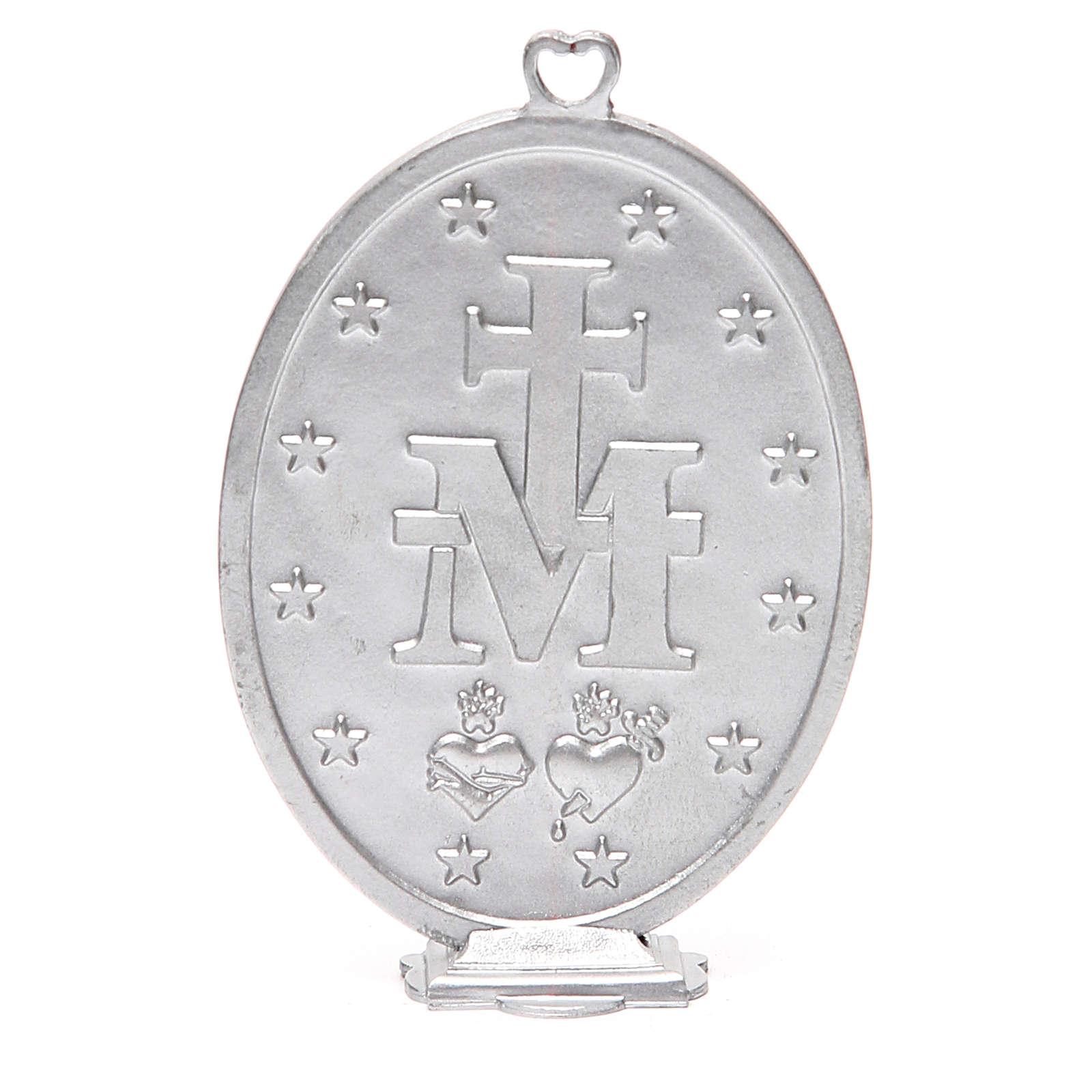 Medallón Virgen Milagrosa 12,5 cm galvánica plata gris antiguo 4