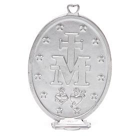 Médaille Vierge Miraculeuse galvanisée argent gris vieilli 12,5 cm s3