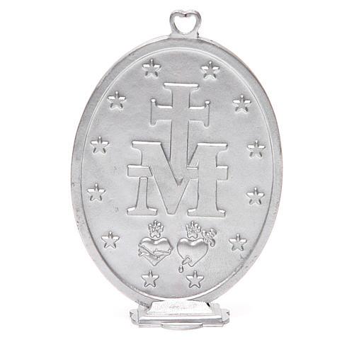 Médaille Vierge Miraculeuse galvanisée argent gris vieilli 12,5 cm 3