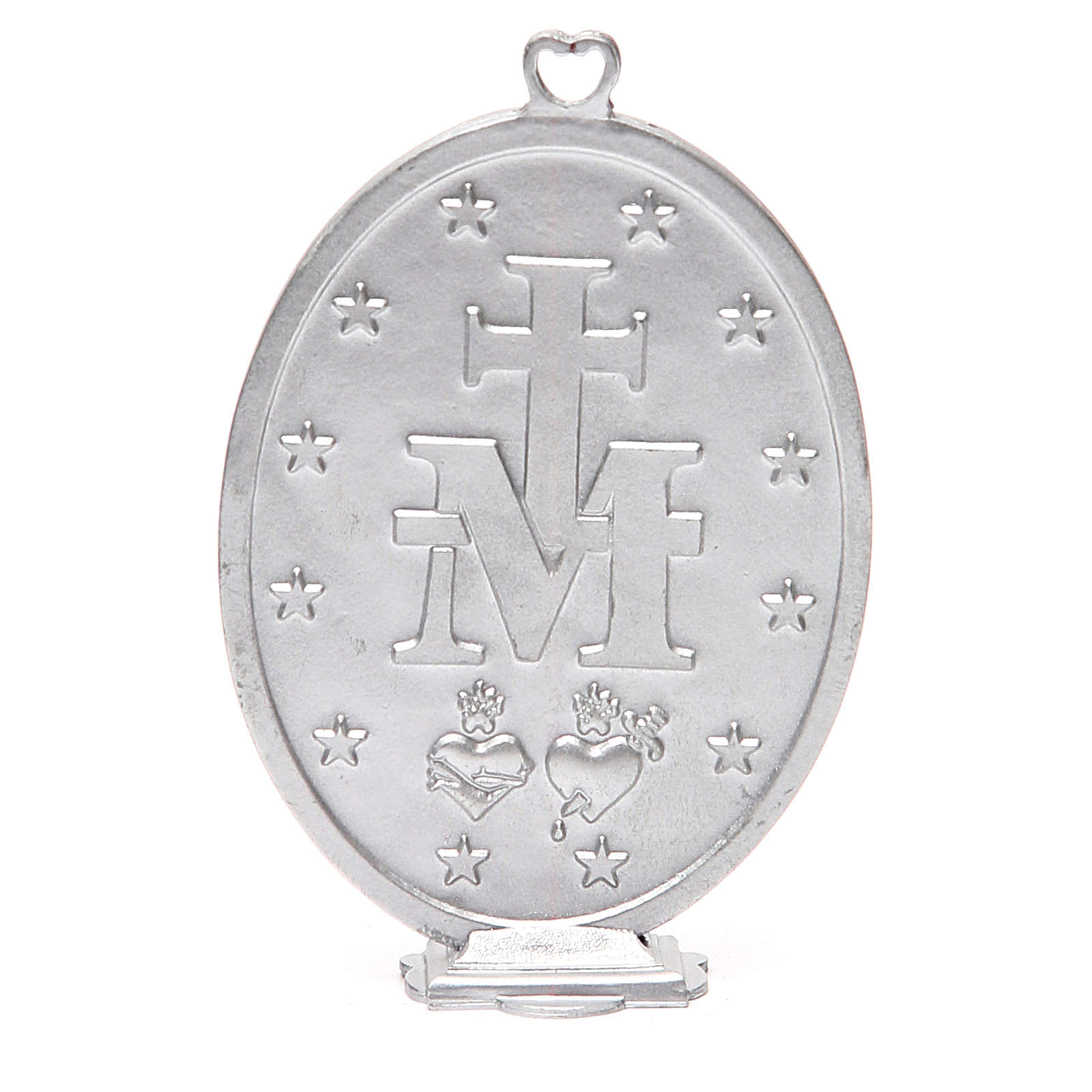 Miraculous Medal in galvanised zamak, antique blue 12.5cm 4