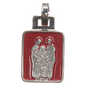 STOCK Medal Holy Family nickel-plated, red enamel 20mm s2