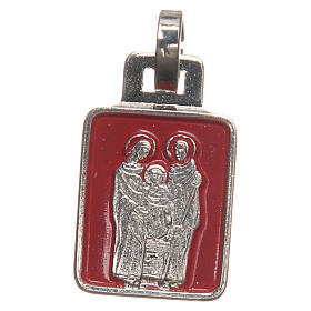 Medals: STOCK Medal Holy Family nickel-plated, red enamel 20mm