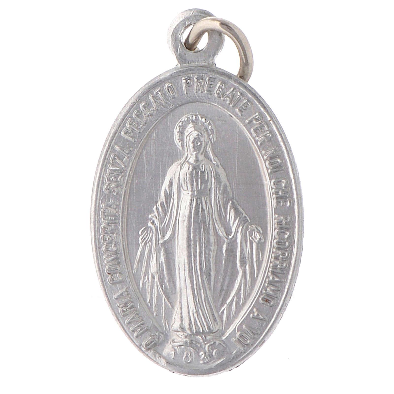 STOCK Medaglia Madonna Miracolosa alluminio argentato 4
