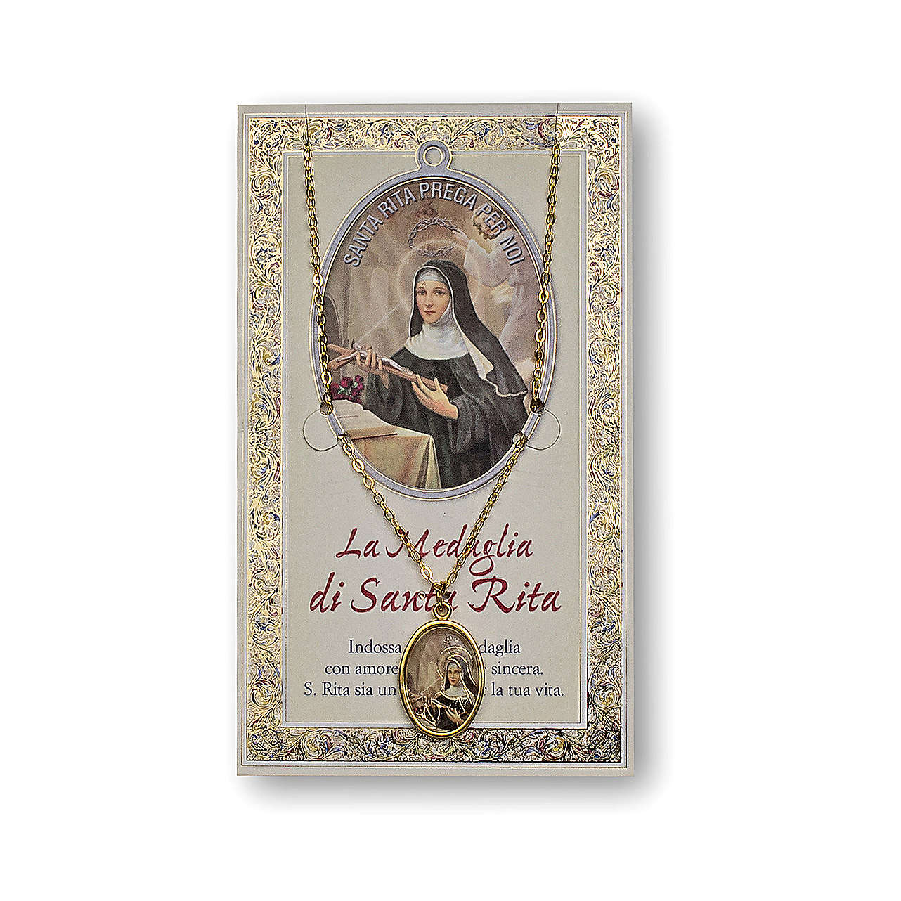 Saint Rita of Cascia medal with chain and card with prayer in ITALIAN 4