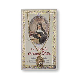 Saint Rita of Cascia medal with chain and card with prayer in ITALIAN s1