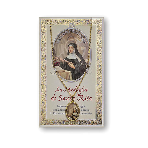 Saint Rita of Cascia medal with chain and card with prayer in ITALIAN 1