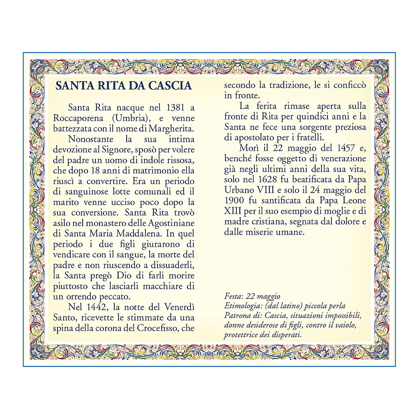 Medalla Cadena Cartulina Santa Rita de Casia Oración ITA 4