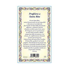 Medalla Cadena Cartulina Santa Rita de Casia Oración ITA s3