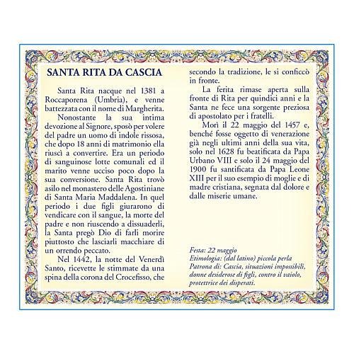 Medalla Cadena Cartulina Santa Rita de Casia Oración ITA 2