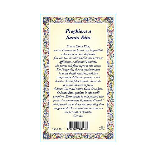 Medaglia Catenina Cartoncino Santa Rita da Cascia Preghiera ITA 3