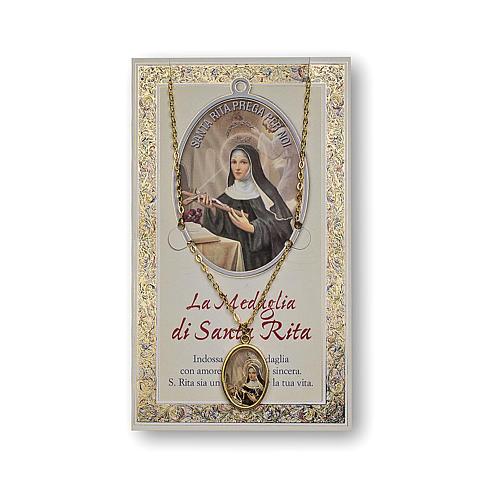 Medalha corrente cartão Santa Rita de Cássia Oração ITA 1