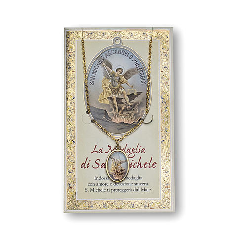 Saint Micheal the Archangel medal with chain and card with prayer in ITALIAN 1