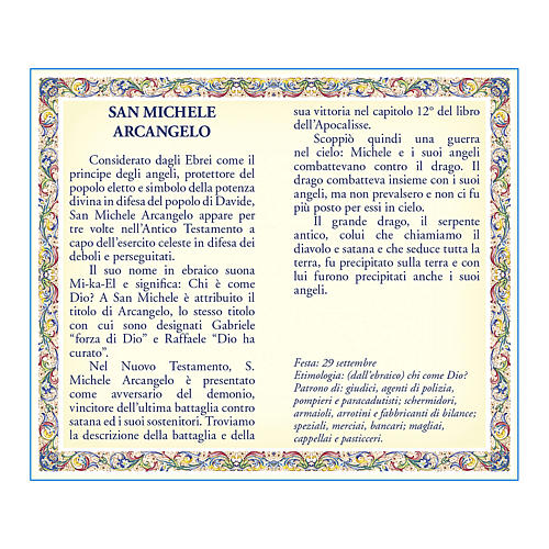 Saint Micheal the Archangel medal with chain and card with prayer in ITALIAN 2