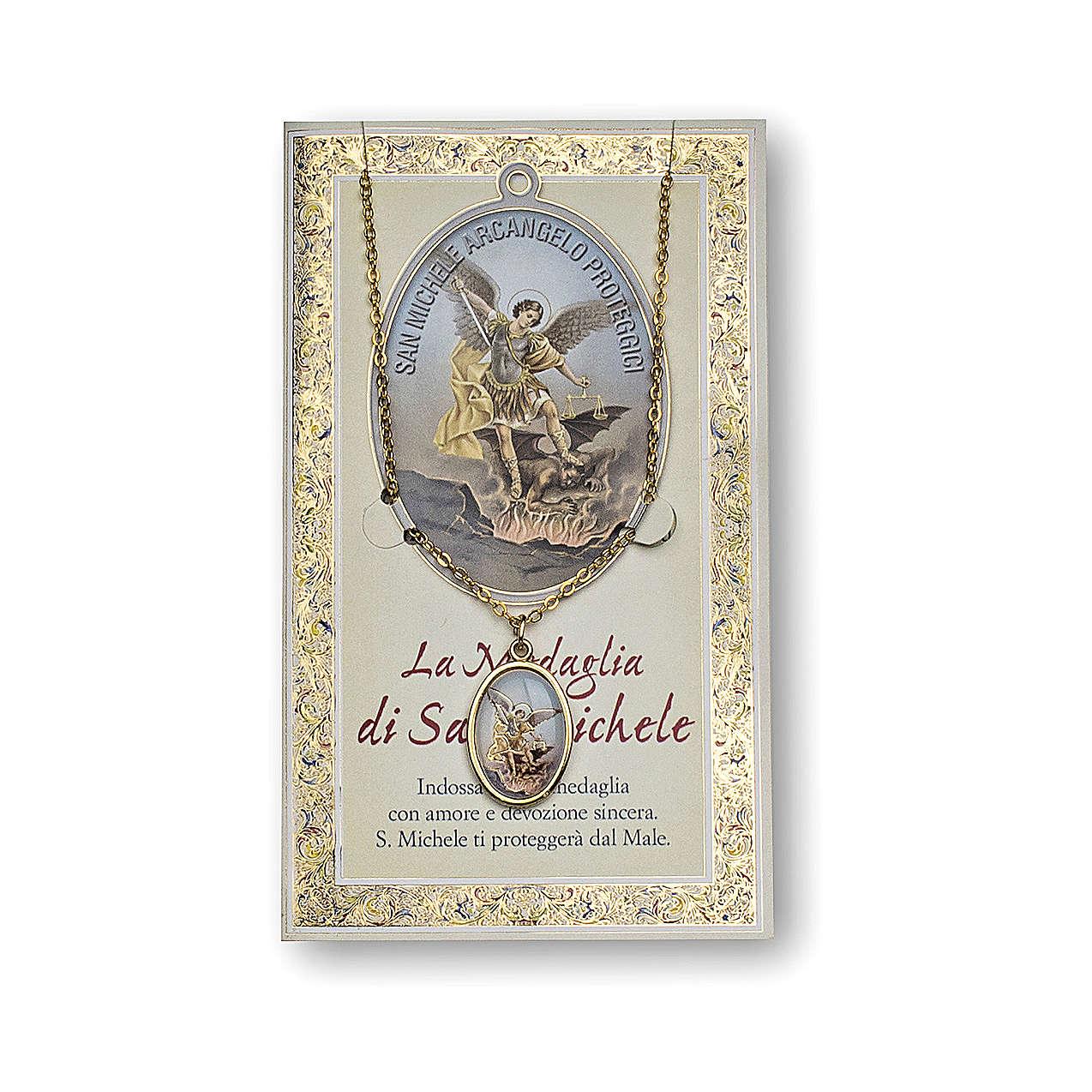 Medaglia Catenina Cartoncino San Michele Arcangelo Preghiera ITA 4