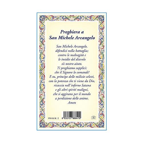 Medaglia Catenina Cartoncino San Michele Arcangelo Preghiera ITA 3