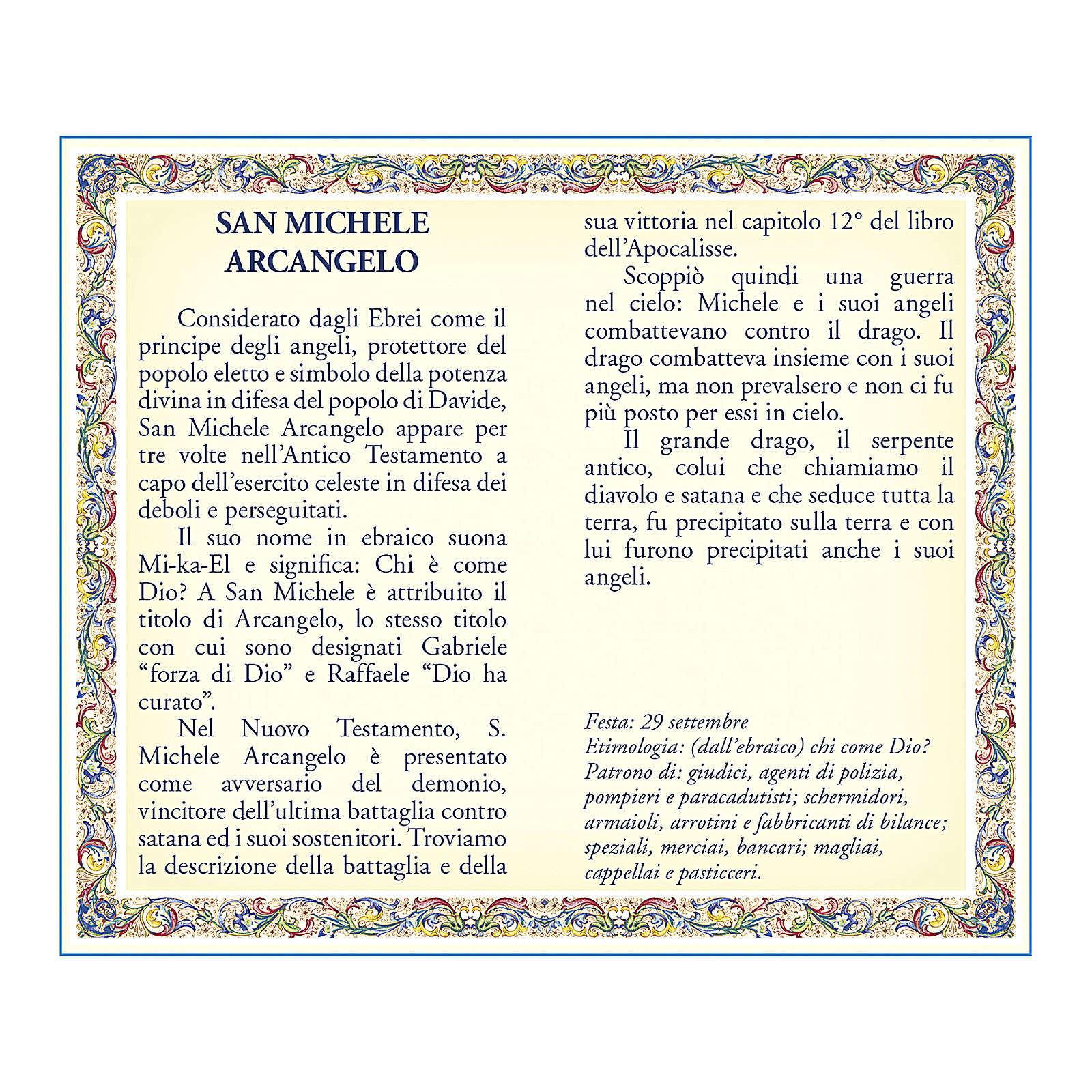 Saint Micheal the Archangel medal with chain and card with prayer in ITALIAN 4