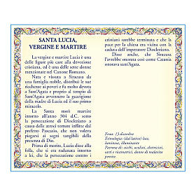 Saint Lucy medal with chain and card with prayer in ITALIAN s2