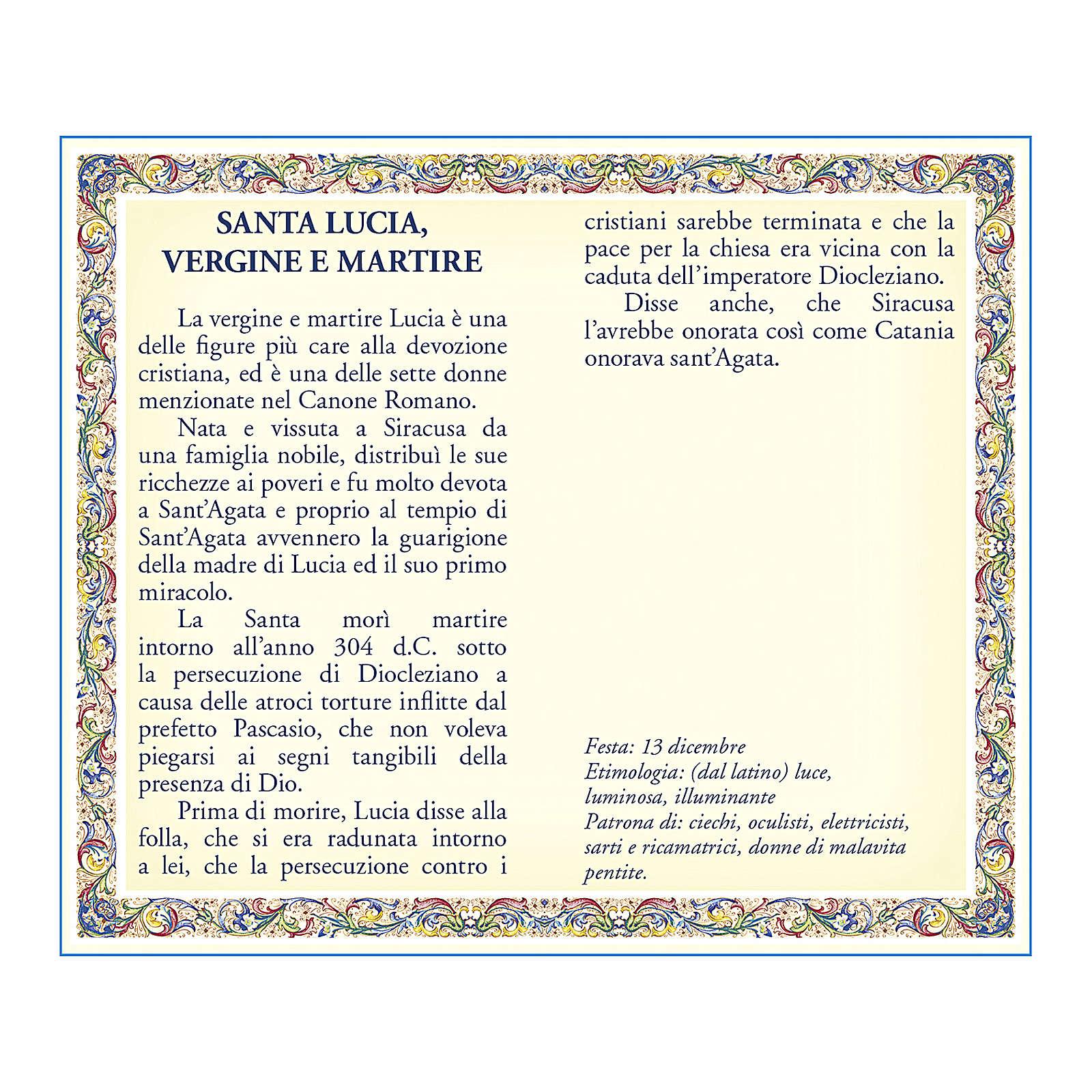 Medalla Cadena Cartulina Santa Lucía Oración ITA 4
