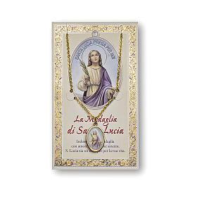 Medalla Cadena Cartulina Santa Lucía Oración ITA s1