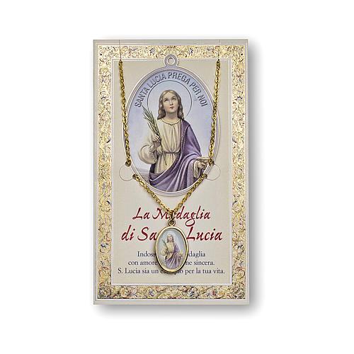 Medalla Cadena Cartulina Santa Lucía Oración ITA 1