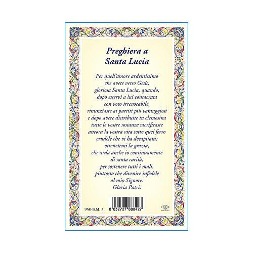 Medalla Cadena Cartulina Santa Lucía Oración ITA 3