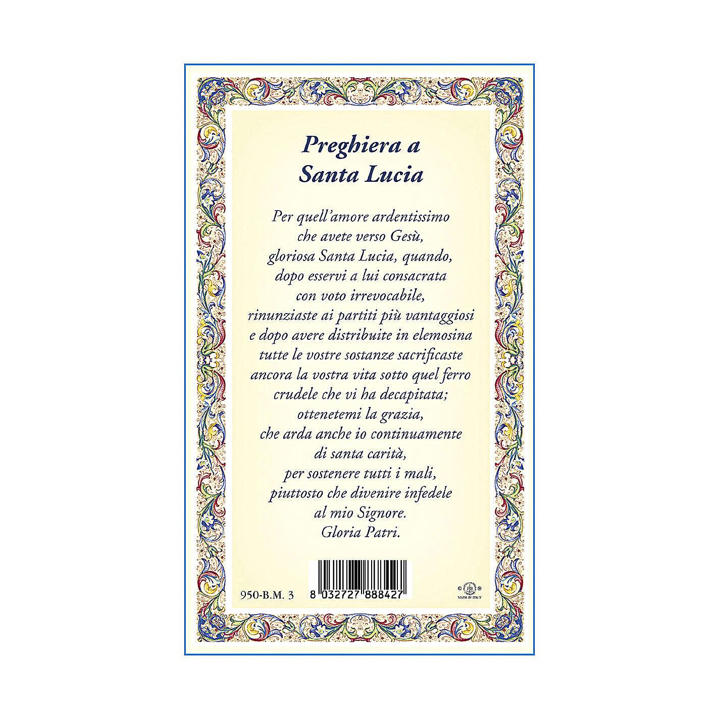 Médaille Chaîne Carte Sainte Lucie Prière ITA 4