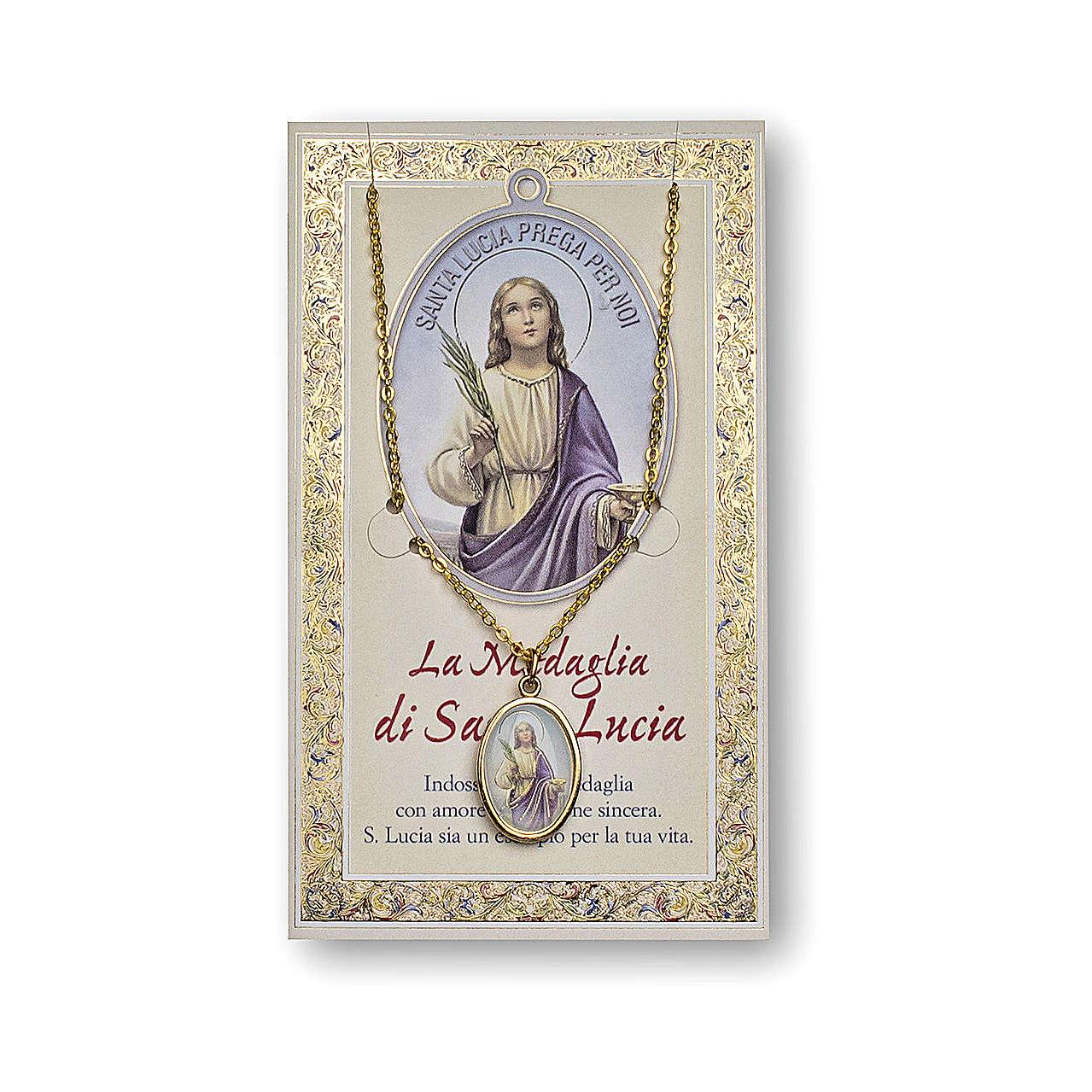 Medaglia Catenina Cartoncino Santa Lucia Preghiera ITA 4