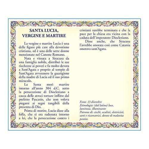 Medaglia Catenina Cartoncino Santa Lucia Preghiera ITA 2