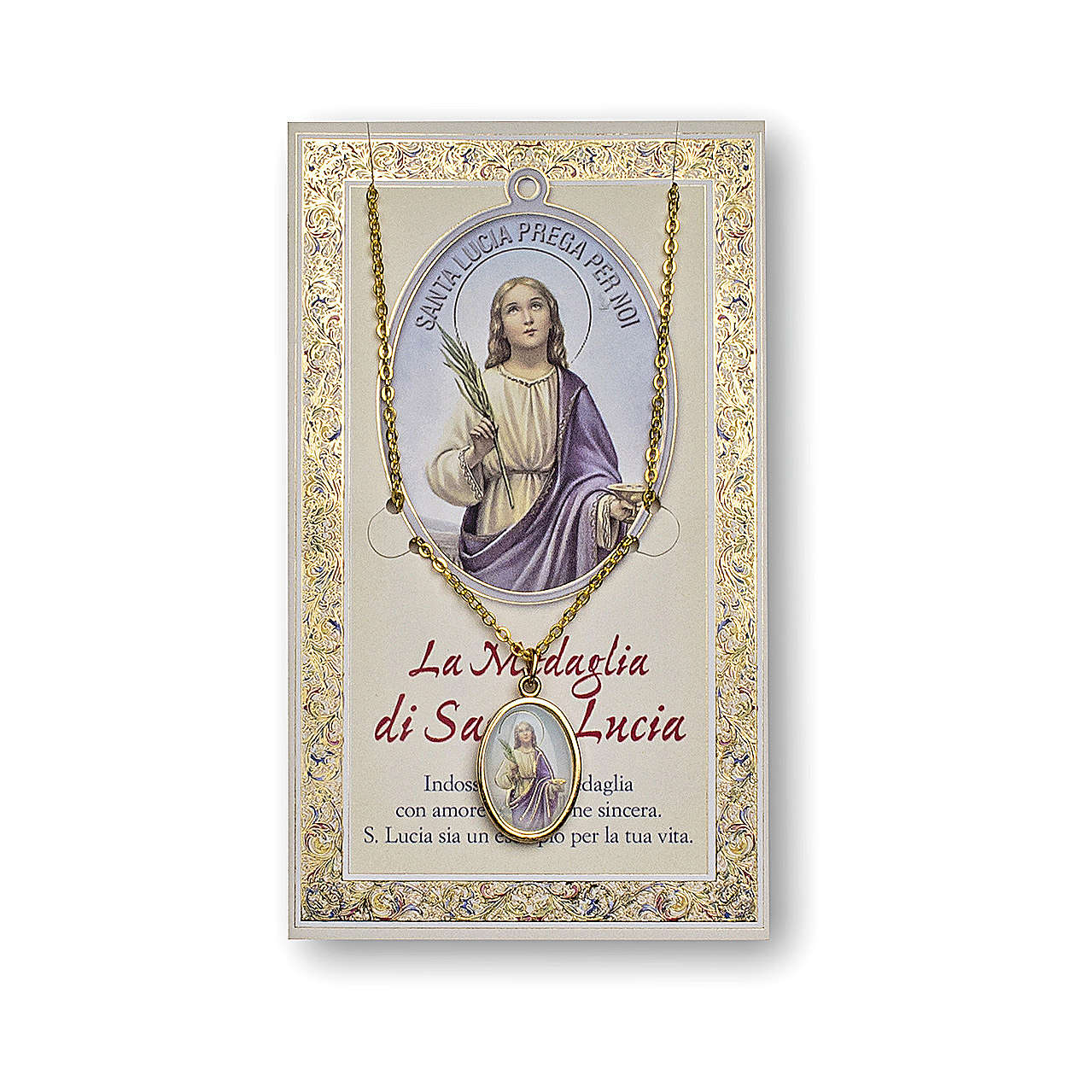 Saint Lucy medal with chain and card with prayer in ITALIAN 4