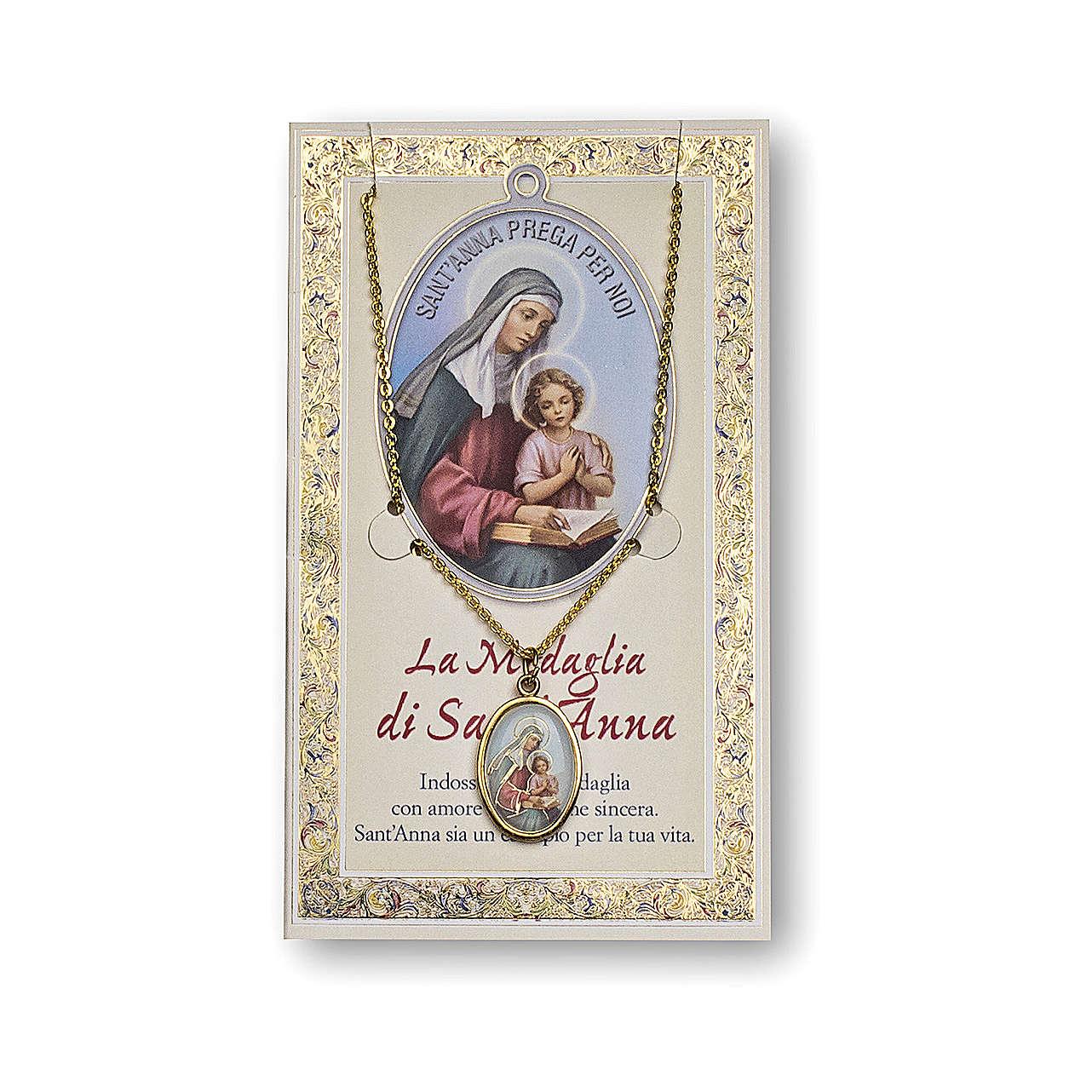 Medalla Cadena Cartulina Santa Ana Oración ITA 4