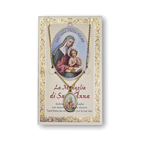Medalla Cadena Cartulina Santa Ana Oración ITA 1