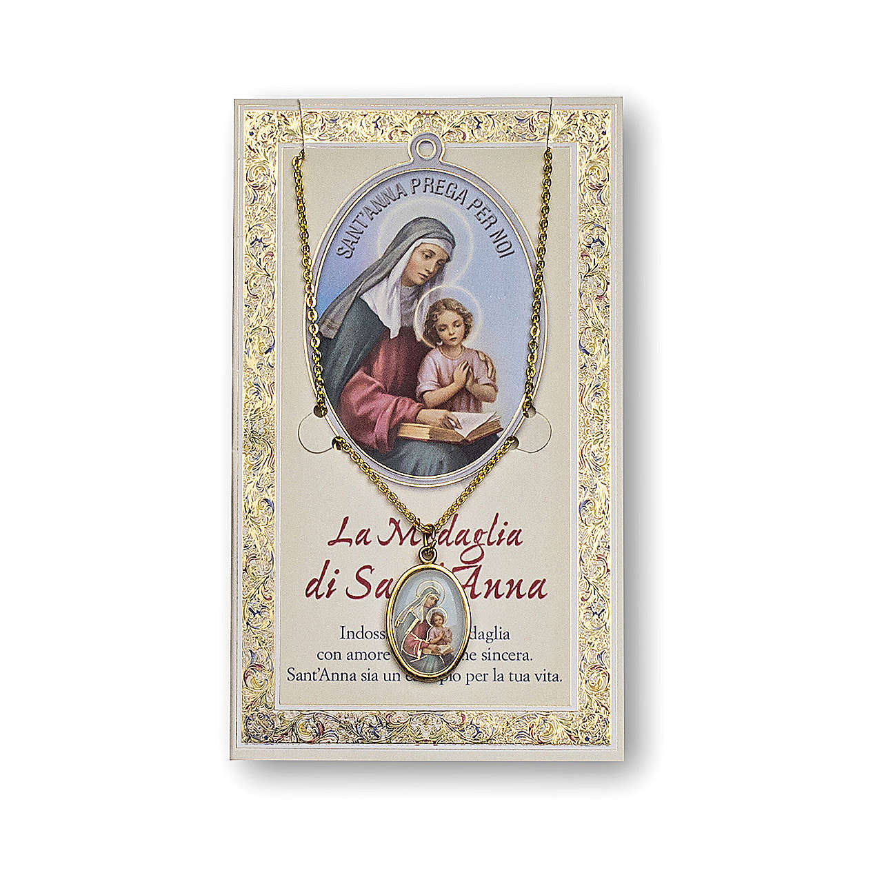 Saint Anne medal with chain and card with prayer in ITALIAN 4