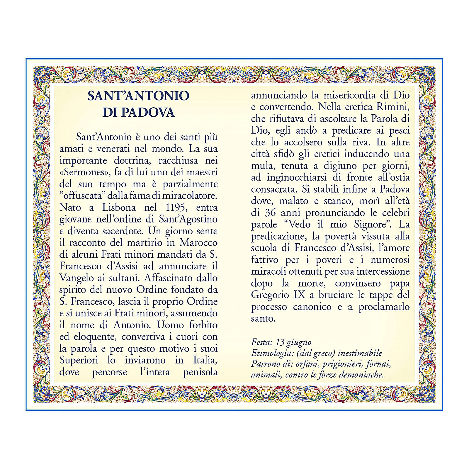 Saint Anthony of Padua medal with chain and card with prayer in ITALIAN 4