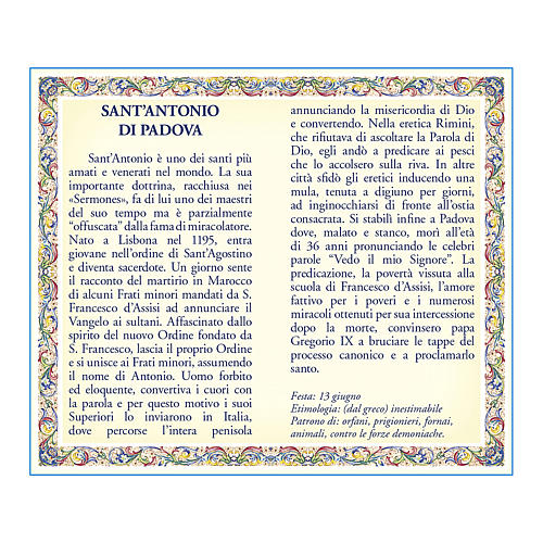 Saint Anthony of Padua medal with chain and card with prayer in ITALIAN 2