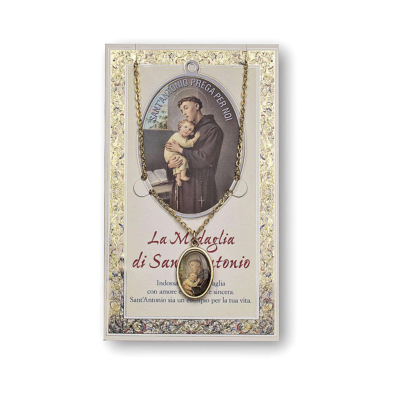 Médaille Chaîne Carte St Antoine de Padou prière ITA 4