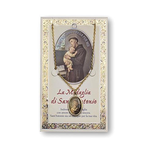 Médaille Chaîne Carte St Antoine de Padou prière ITA 1
