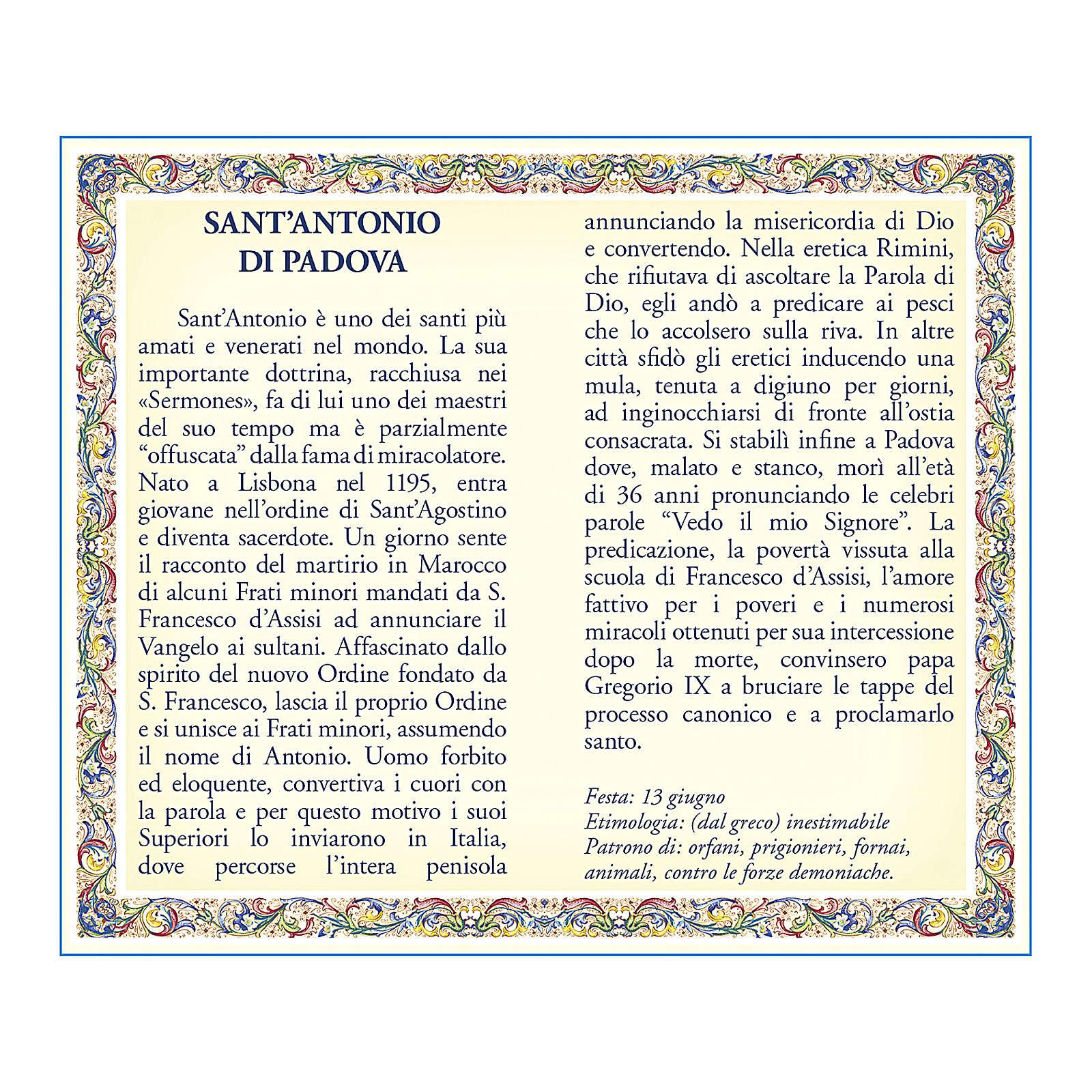 Medaglia Catenina Cartoncino Sant'Antonio da Padova Preghiera ITA 4