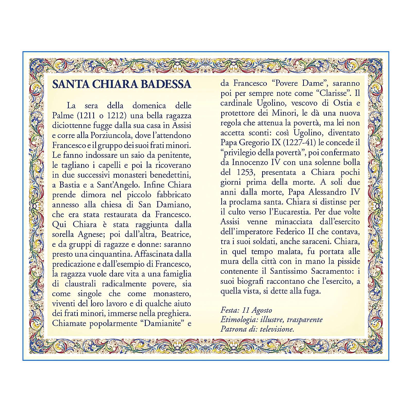 Medaglia Catenina Cartoncino Santa Chiara Preghiera ITA 4