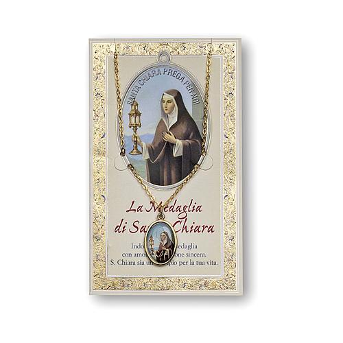 Medaglia Catenina Cartoncino Santa Chiara Preghiera ITA 1