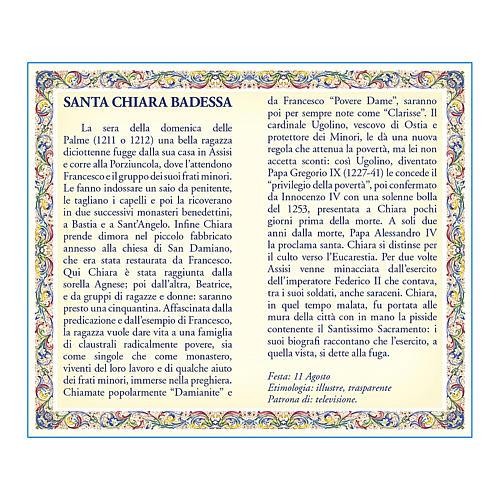 Medaglia Catenina Cartoncino Santa Chiara Preghiera ITA 2