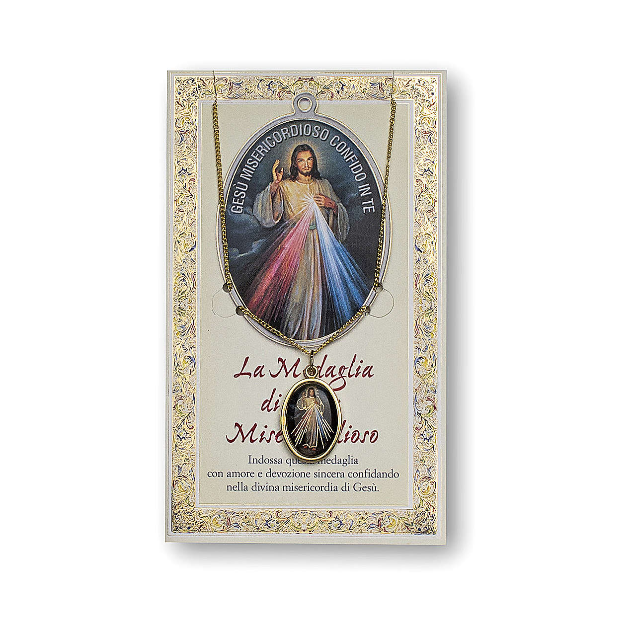 Jesus the Compassionate medal with chain and card with Chaplet of the Divine Mercy prayer in ITALIAN 4