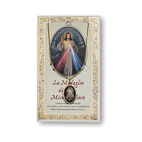 Jesus the Compassionate medal with chain and card with Chaplet of the Divine Mercy prayer in ITALIAN s1