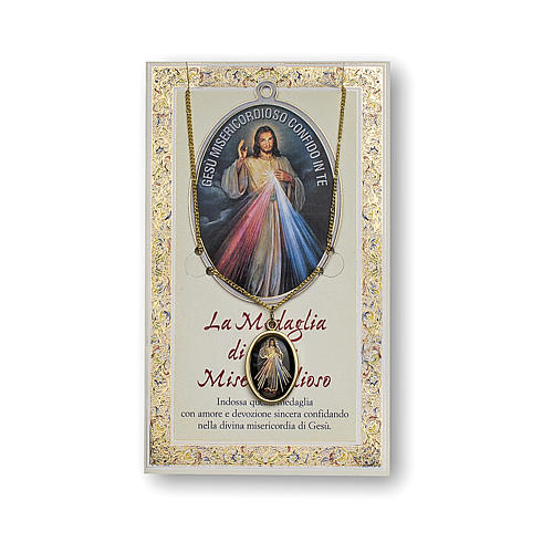 Jesus the Compassionate medal with chain and card with Chaplet of the Divine Mercy prayer in ITALIAN 1