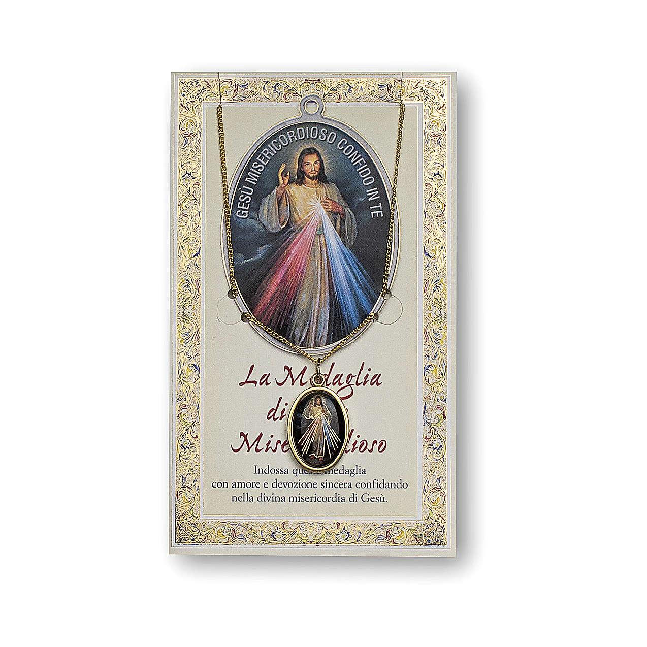 Medaglia Catenina Cartoncino Gesù Misericordioso Coroncina ITA 4