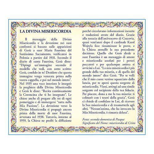 Medaglia Catenina Cartoncino Gesù Misericordioso Coroncina ITA 2